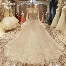LS70057 رداء دي ماريج 2017 الدانتيل يصل الطابق الخلفي طول الكرة ثوب الدانتيل فساتين الزفاف الأورجانزا صور حقيقية