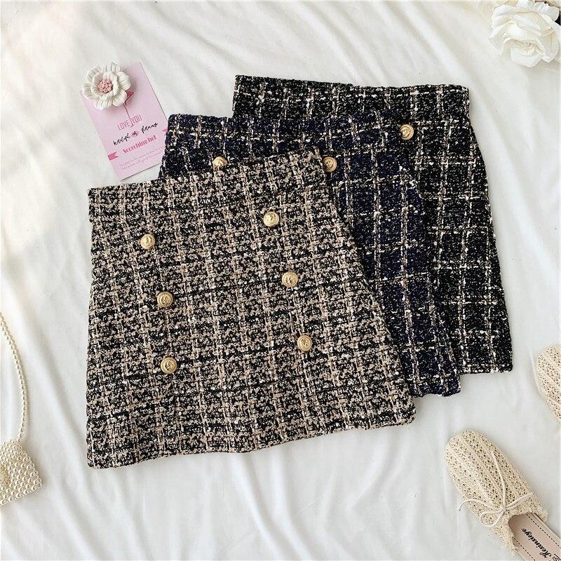 Women Tweed Skirts Autumn Winter Bottom Clothes Witn Button Fashion Mini Skirt Plaid