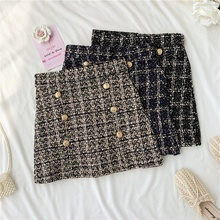 Women Tweed Skirts Autumn Winter Bottom Clothes Witn Button Fashion Mini Skirt P