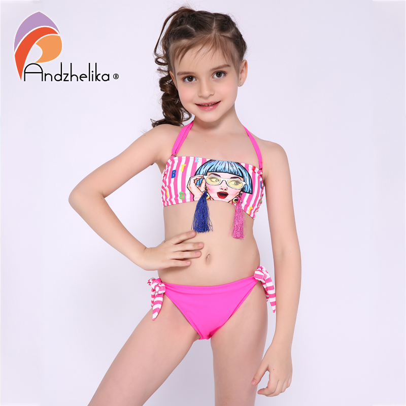 Andzhelika Children's Swimsuit Bikini Personality Girls Swimsuit Child  Bikini Sports For Girls Tassel Swimwear Kid Bathing Suit