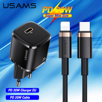 USAMS PD 20W Fast Charger +Type C To Lightning Cable Set For iPhone 12 12 11 Pro Max Mini QC4.0 QC3.0 Quick Charging  Wall Charger