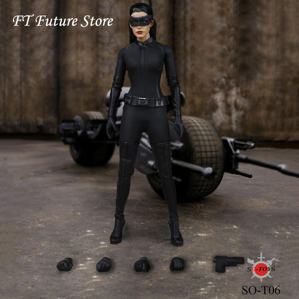 SO-T06 1/6 Scale Female Figure Accessory Batman Carwoman Head Sculpt & Clothes Set Figure Model for 12 inches Action Figure Body