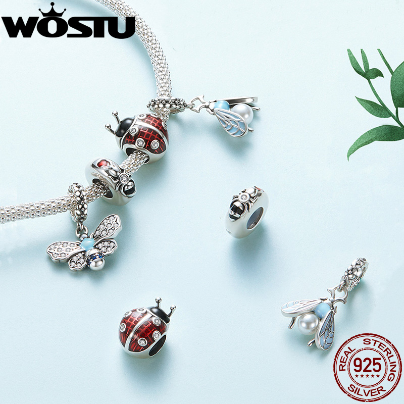 WOSTU Busy Bee 925 Sterling Silver Sky Blue Enamel Bee Pendant Charms For Original Women Bracelets Cubic Zircon Jewelry CQC1480