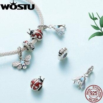 WOSTU Busy Bee 925 Sterling Silver Sky Blue Enamel Bee Pendant Charms For Original Women Bracelets Cubic Zircon Jewelry CQC1480