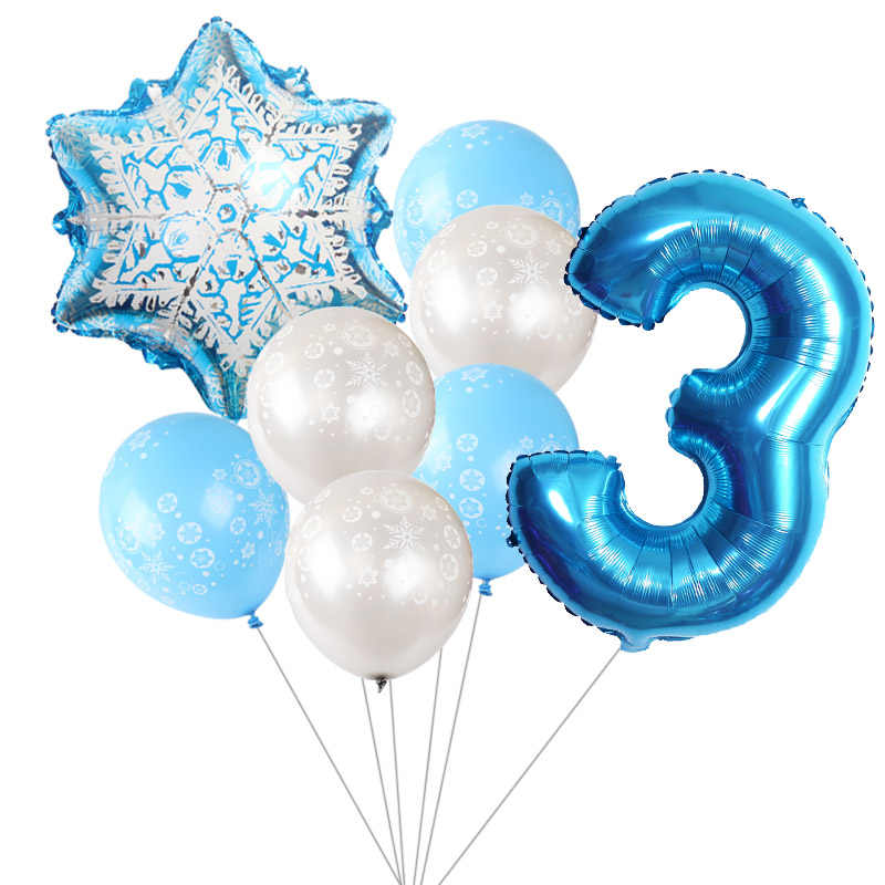 8 Pcs Sneeuwvlok Latex Ballon Set Set 30 Inch Blauw Aantal Folie Ballonnen Baby Shower Birthday Party Thema Decoratie Kids speelgoed
