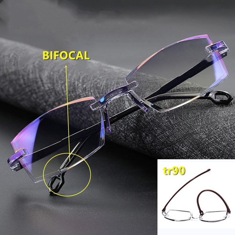 High Quality Bifocal Anti Blue Reading Glasses Portable Rimless Multifocal Presbyopic Glasses Magnification Diamond Cutting NEW