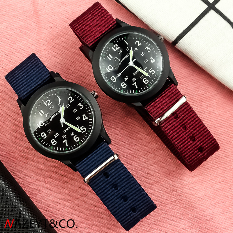Free Shipping New Fashion Children 34mm Outdoor Sports Army Watch Woman Man Wine Red Midnight Blue Nylon Stap Quartz Wristwatch