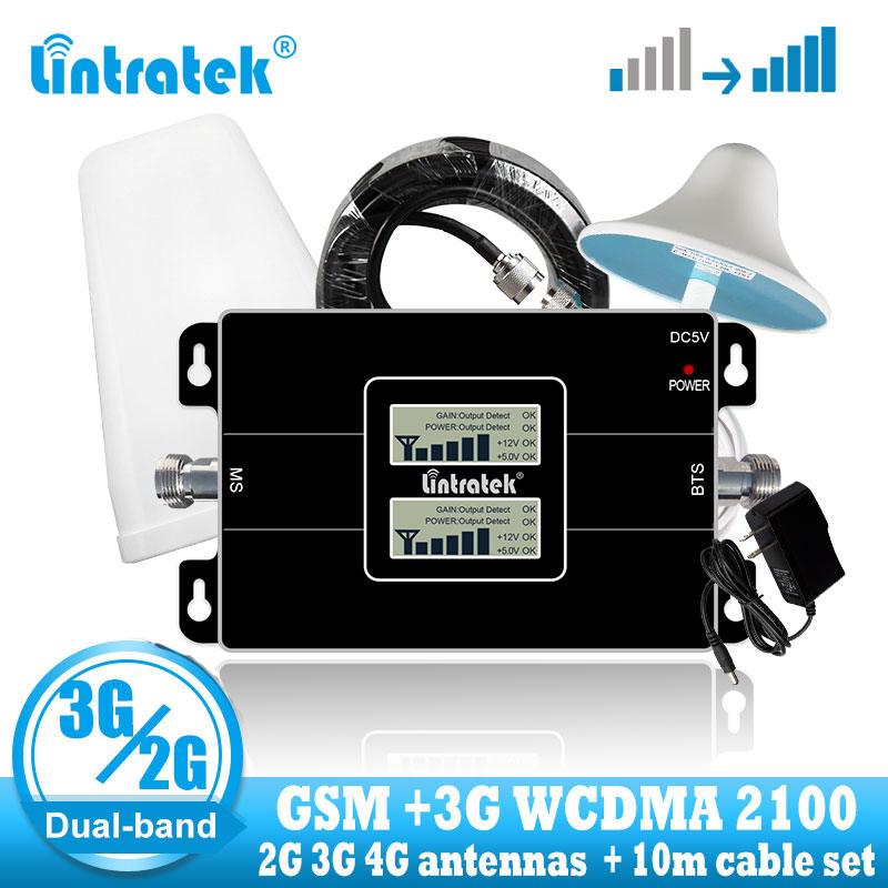Lintratek GSM 2G 900 3G 2100 Celluar Signal Repeater Booster WCDMA Cell Phone Signal Booster Amplifier Gsm UMTS + 2G 3G Antenna