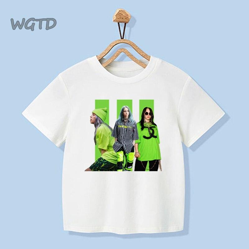 Cool Kpop Harajuku Billie Eilish Print Kids Boys Girls T Shirt Short Sleeve Tops Tees Baby White Casual T Shirts Outfits Clothes