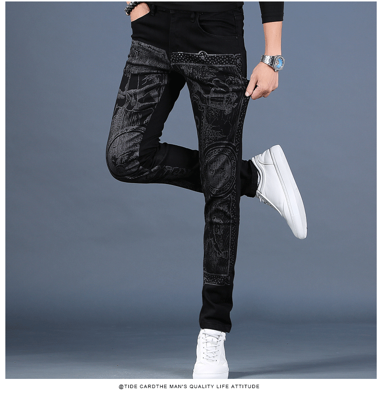 Free shipping new fashion male Men's printed plus velvet jeans thick casual slim feet pants Korean winter trousers 99% cotton 35