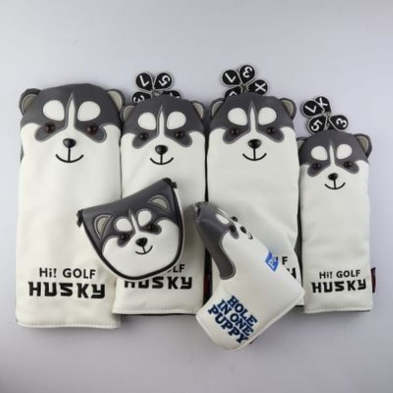 New Golf Club Head Cover Husky Pattern Portable PU Fluffy Lining Putter Headcover Protector Case For Golfers Super Plush
