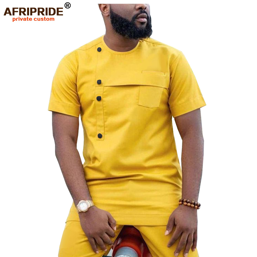 2019 African Men Clothing Ankara Pants Set Dashiki Shirt 2 Piece Outfit Crop Top Attire Short Sleeve Casual AFRIPRIDE A1916032