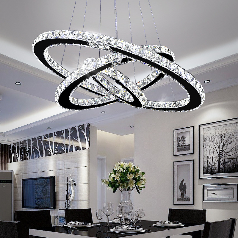 Creative Stainless Steel Ring Hanging Line Dining Pendant Lights Led Round Bedroom Living Room Crystal Lamp WF5101804