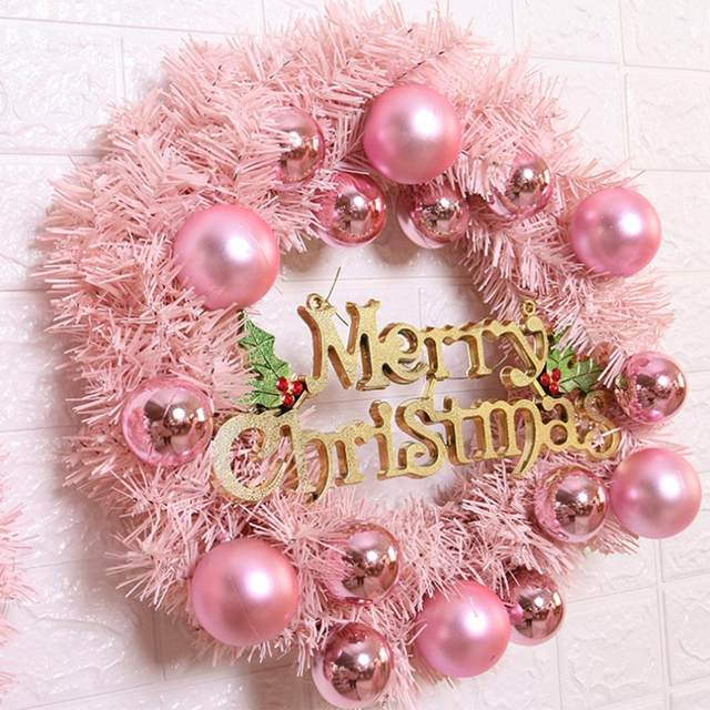30/40cm Christmas Decoration Pink Christmas Wreath Rattan Ring Shopping Mall Window Scene Ornaments Artificial Christmas Wreath 20