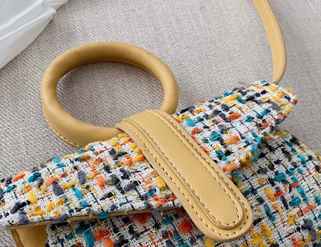Embroidery Surface Flap Circle Clutch Ring Handbag Fashion Shoulder Bag for Women Mochila Mujer in Shoulder Bags from Luggage Bags