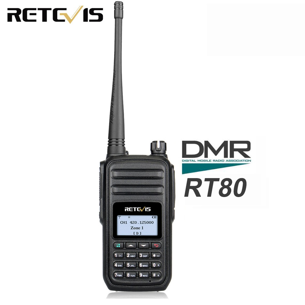 RETEVIS RT80 Ham Radio DMR Digital Walkie Talkie 5W UHF VOX FM Radio Portable Two-Way Radio Amador Analog/Digital Transceiver