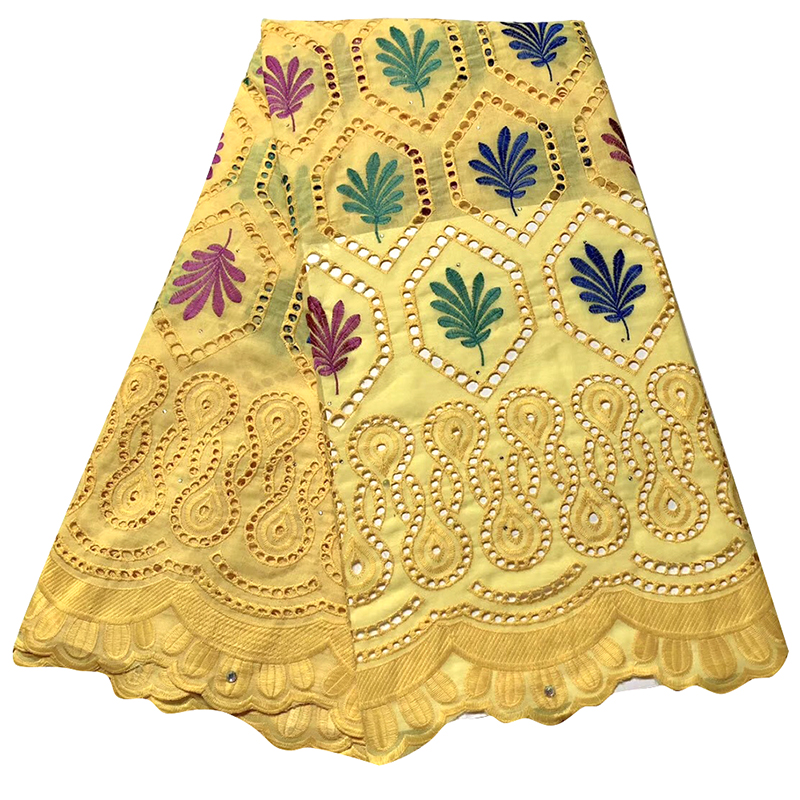 Latest Swiss Voile Lace 2020 African Lace Fabric Yellow Nigerian Embroidered Fabrics For Wedding Tissu African Broderie 5 Yards