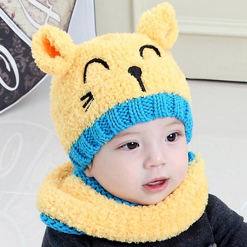 Kids Girls Boys Warm Hat Winter Beanie Hooded Scarf Earflap Knitted Cap