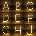 Теплый алфавит, светодиодные неоновые буквы, вывеска, сказочные огни, гирлянда, гирлянда с питанием от USB, работающая от батарейки, для помещ...