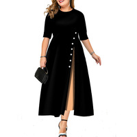 2019 Autumn And Winter Ladies Long Dress Five point Sleeve Round Neck Color Matching Slim Button Dress Elegant Party Dress