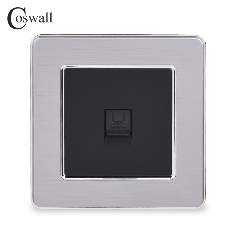 COSWALL 1 Gang RJ45 Internet Jack CAT5E Connector Stainless Steel Brushed Panel Computer Outlet Wall Data Socket