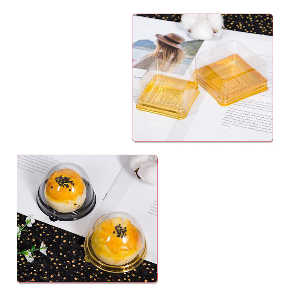50pcs Moon Cake Boxes Square Baking Plastic Golden Packing Box for Cake Cheese