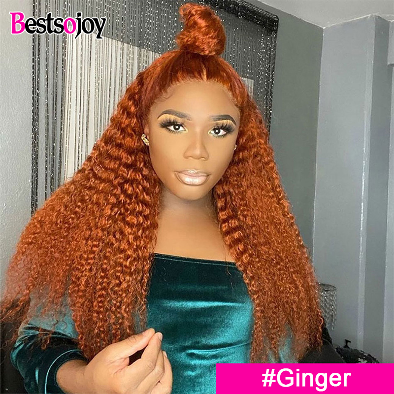 Bestsojoy Ginger Orange Curly Lace Front Human Hair Wigs Preplucked Remy Colored Human Hair Wigs For Women