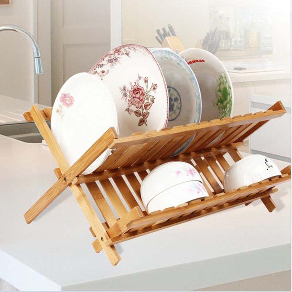 Folding Bamboo Dish Rack Drying Rack Holder Utensil Drainer Plate Storage Holder Plate Home Kitchen Wooden Flatware Dish Rack|Racks & Holders| |  - title=