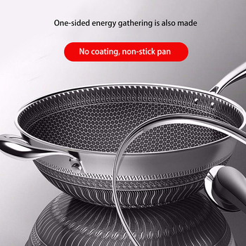 New Non-stick Frying Pans Double-Sided Screen Honeycomb Stainless Steel Wok Without Oil Smoke Frying Pan Wok PFOA-Free 304 stainless steel frying pan without oil smoke non stick pan without coating household cooking pot