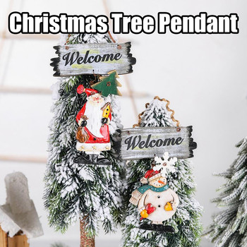Christmas Resin Wood Painted Pendant Antique Snowman Angel Pendant Door Hanging Christmas Tree Decoration boze narodzenie image