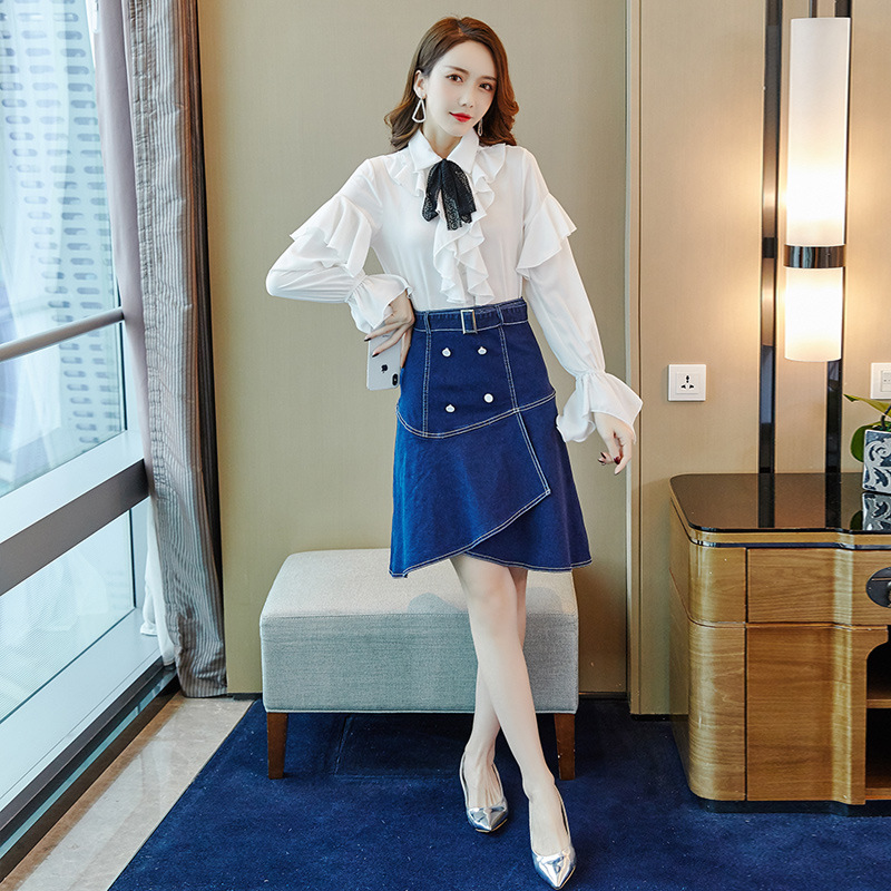 Set WOMEN'S Dress 2019 Autumn New Style Korean-style Elegant Commuting Long-sleeved Shirt Skirt Two-Piece Set Wholesale 9391