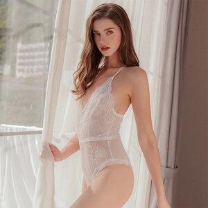 Image 1 - Munllure Ladies Body shaping one piece pajamas corset  Lace Underwear Women Sexy Bra Set Lingerie Bralette Sleepwear