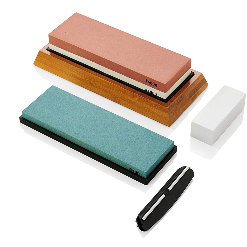 WSFS Hot Whetstone Sharpening Stone Set - <font><b>400</b></font> <font><b>1000</b></font> 6000 Whetstones, Non-Slip Bamboo Base, Silicon Holder, Angle Guide and Fixing image