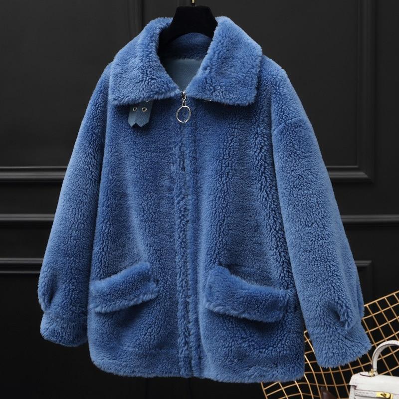 Real Fur Coat Sheep Shearling Fur Wool Jacket Autumn Winter Coat Women Clothes 2020 Korean Vintage Women Tops Suede Lining T3457