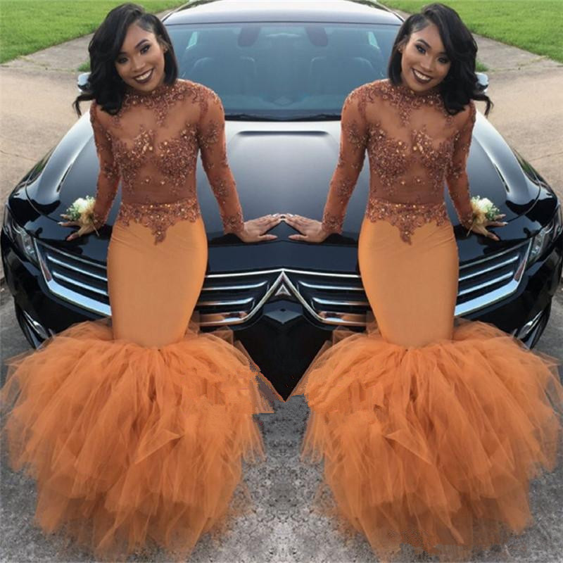 See Through   Prom     Dress   2019 Mermaid Long Sleeves Tulle Appliques Beaded Ruffles Long   Prom   Gown Evening   Dresses   Robe De Soiree