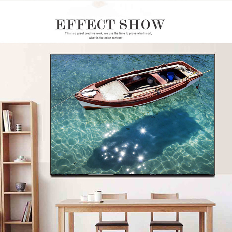 Modern Canvas Painting Boat Afloating on the Lake Wall Pictures For Living Room Landscape Painting Cuadros Decoration in Painting Calligraphy from Home Garden