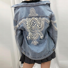 TEELYNN Denim women jacket vintage More than 2,000 pearl studs inlaid loose coat