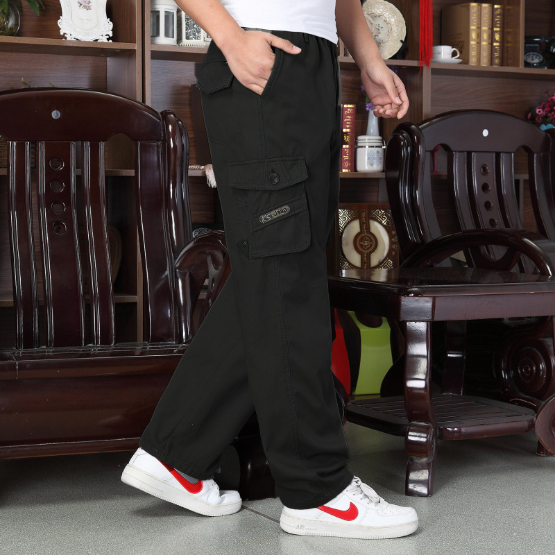 Winter New Products Middle-aged Straight-Cut Thick Trousers Sports Pure Cotton Washable Pants Men's Plus-sized Duo Kou Dai Ku Me