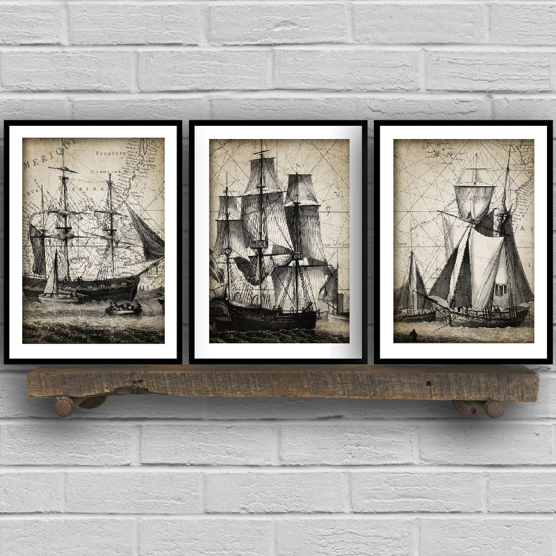 Vintage Sailing Ship Triptych Posters And Prints Bathroom Wall Art Decor Navy Ship Nautical Art Canvas Painting Decoration Painting Calligraphy Aliexpress
