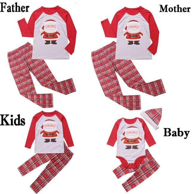 2019 Family Matching Adult Kids Christmas Pyjamas Xmas Nightwear Pajamas Sets