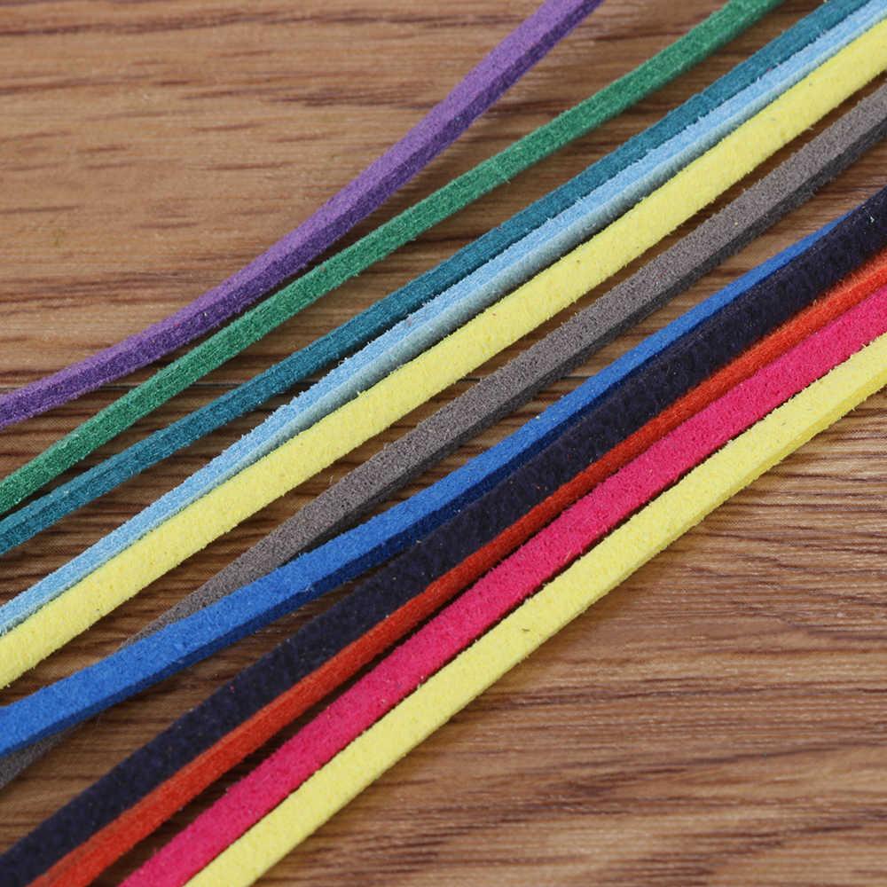 5*1 m 3mm plana camurça do falso coreano veludo cabo de couro diy corda fio jóias pulseira fazendo artesanato decorativo acessórios