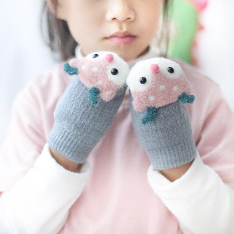 Finger Warm Baby Newborn Lovely Plus Velvet Knitting Mittens Kids Gloves Thick