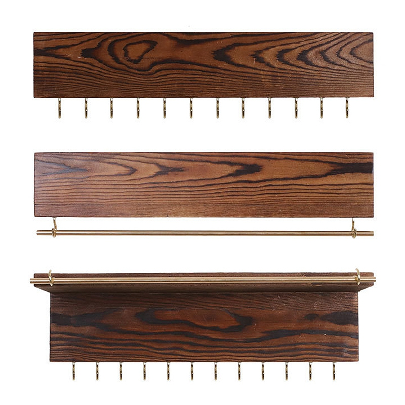 Set Of 3 Jewelry Organizer Wall Mounted,Wood Hanging Jewelry Organizer Holder With Removable Bracelet Rod And 24 Hooks,for Neckl