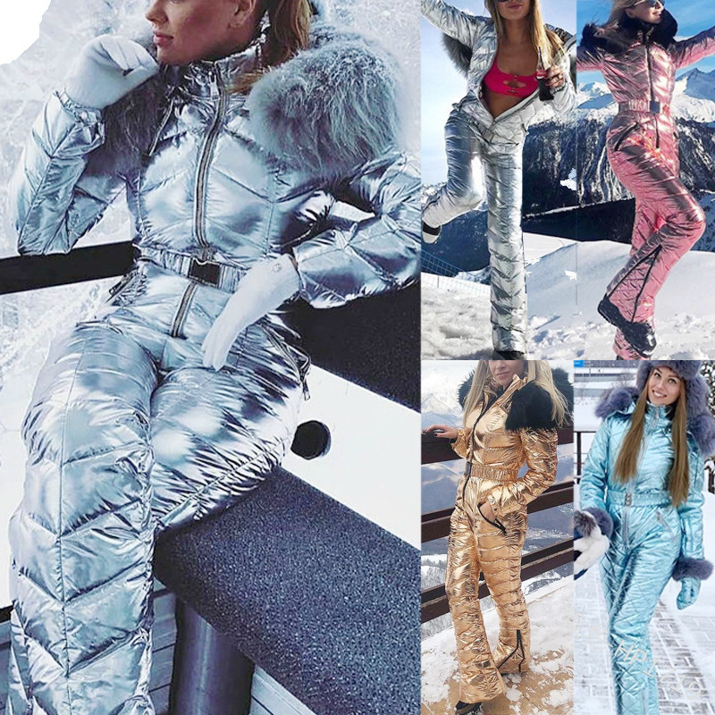 Ski Suit Women Fashion Hooded With Fur Collar Windproof Warm Cotton Clothing Jumpsuit Ski Set Outdoor Snowboard Jacket One-piece