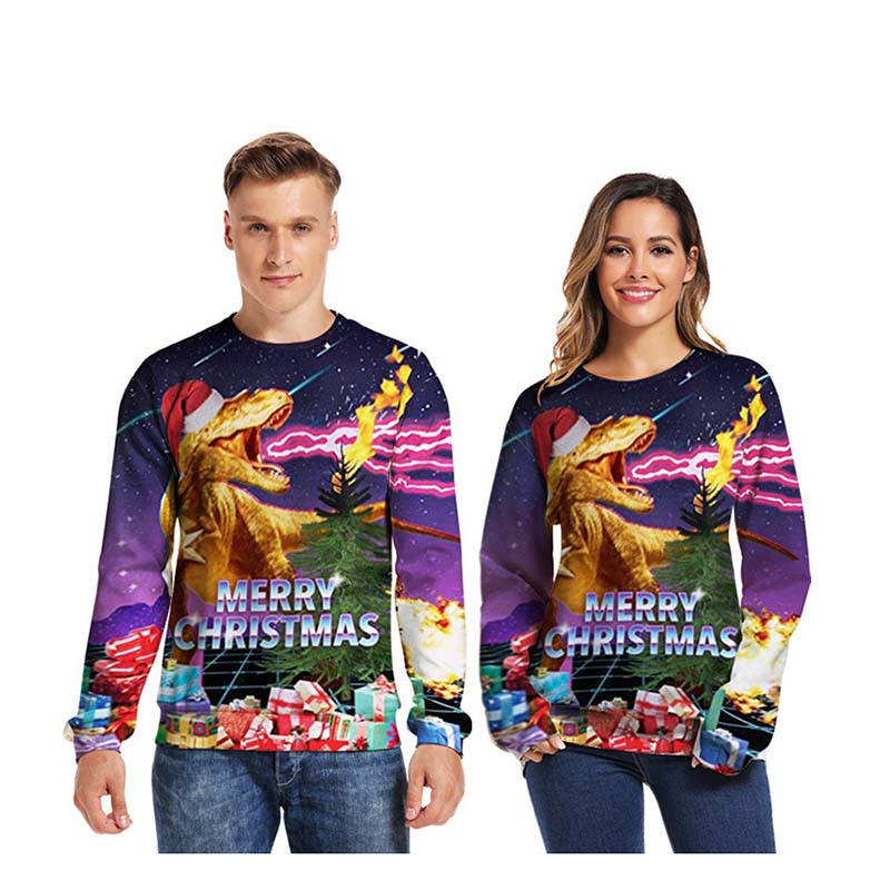 Christmas Funny Dinosaur 3D Print Sweater Popular Mens O-Neck Long Sleeve Tops 2019 Hot Sale  Female Autumn Winter Casual Hoody