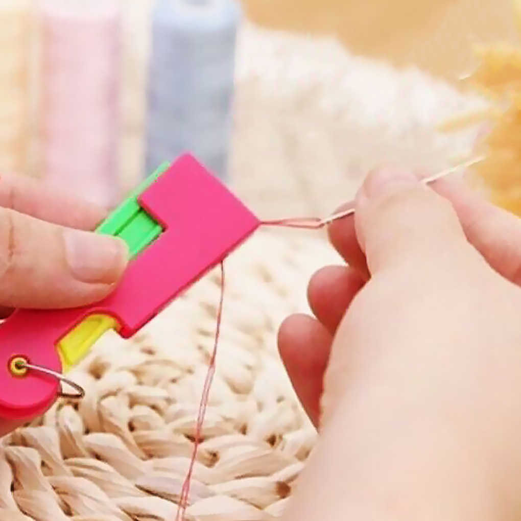 3pcs Color Random Mini Automatic Needle Threader Sewing Threading Guide Device Sewing Tool