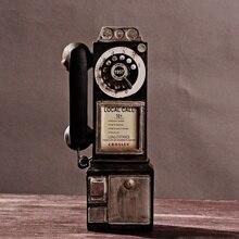 Поворотный античный циферблат модель платного телефона винтажная телефонная будка телефонный звонок Статуэтка KYY8899