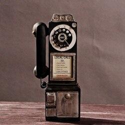 Rotary de Marcação Antigo Pagar Modelo Do Telefone Do Vintage Telefone Cabine Telefônica Chamada KYY8899 Estatueta