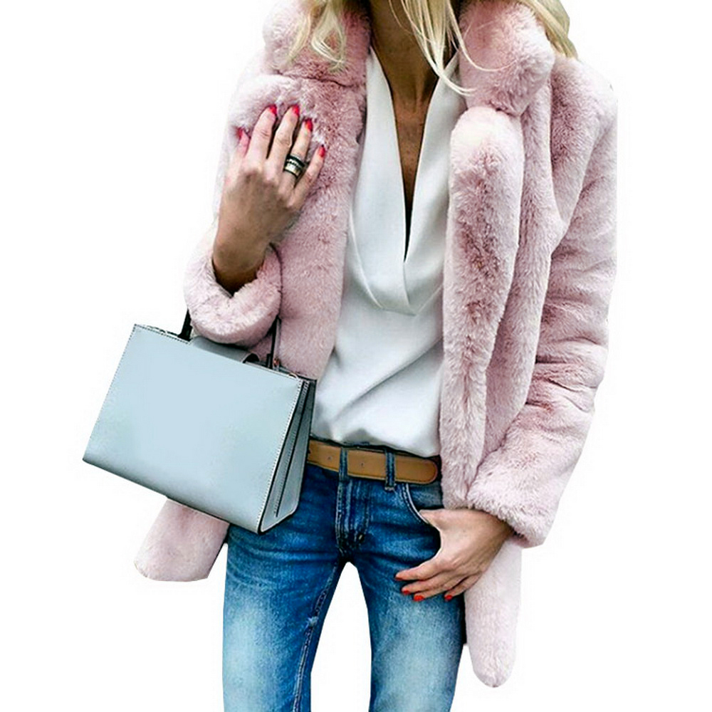 JODIMITTY Women Faux Fur Coats Winter Solid Fashion Open Point Outwear Female Luxury Long Sleeve Warm Thick Fluffy Jacket Coat