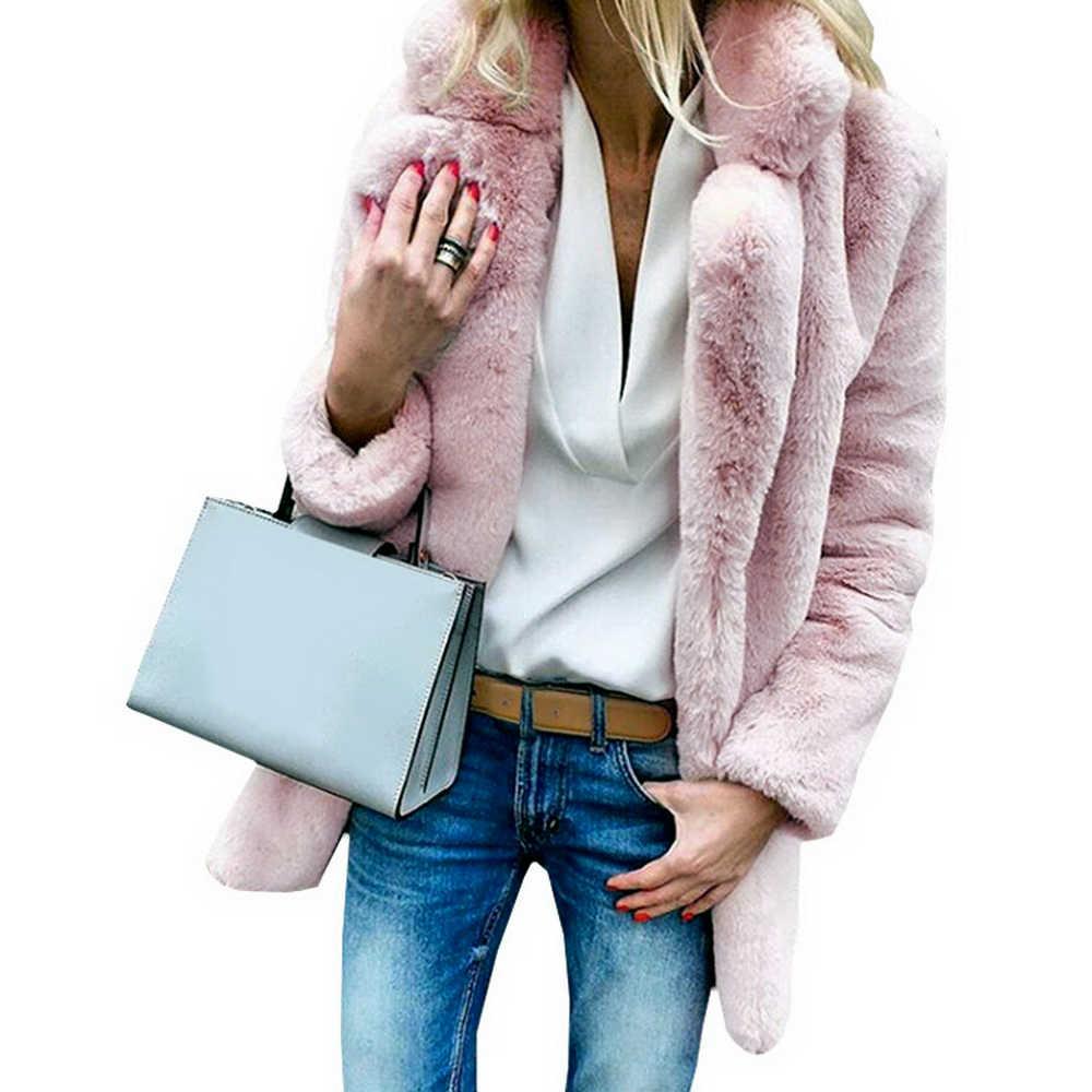 JODIMITTY kadın taklit kürk mantolar kış düz moda açık nokta dış giyim kadın lüks uzun kollu sıcak kalın kabarık ceket ceket